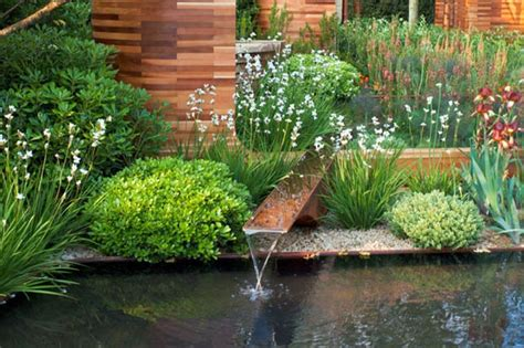 amazing pond and nice shrubs with colorful flowers for contemporary garden design plans nytexas