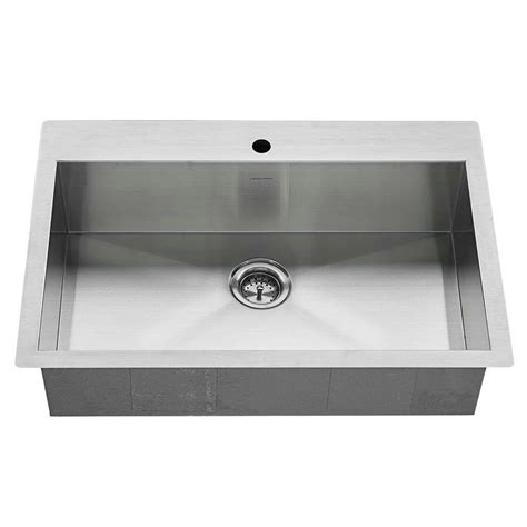 American Standard Stainless Steel Kitchen Sinks American Standard Edgewater Zero Radius Dual Mount Stainless Steel 33 In 1 Single Basin