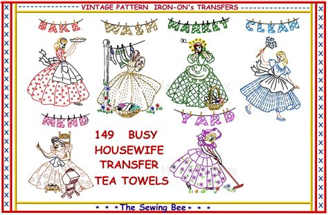 embroidery design transfer crinoline busy housewife embroidery transfer pattern tea