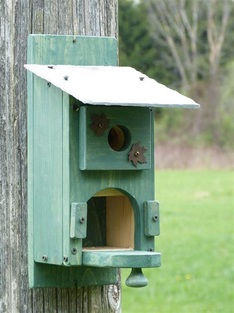 easy open rustic green outdoor slate roof blue bird house
