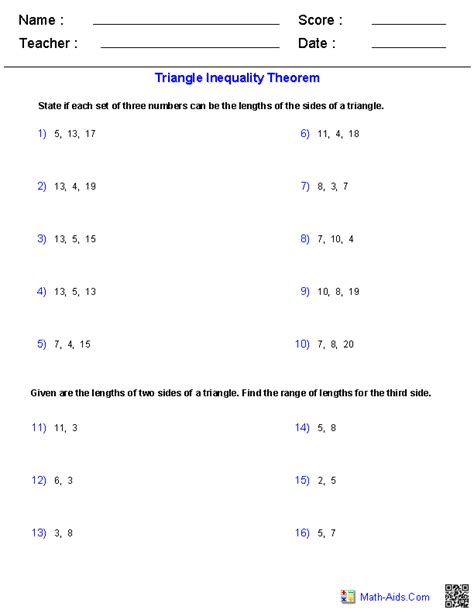 7th Grade Math Inequalities Worksheet by Geometry Worksheets Triangle Worksheets