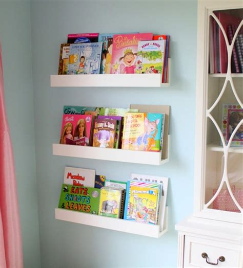custom kid wall mounted bookshelf made of teak wood in