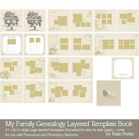 My Family Genealogy Layered Template Book Katie Pertiet Pse Ps Templates Lt769264 Ancestry Book Templates