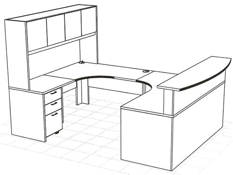 desk sizes create an impressive reception area with a wrap around