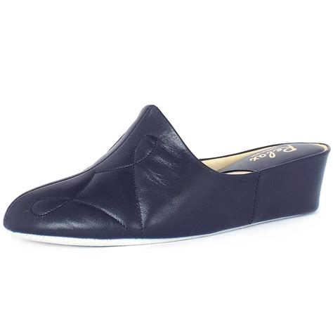 in slippers relax slippers dulcie dressy low wedge navy leather