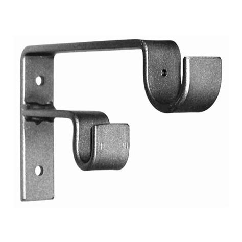 double bracket curtain rod ona drapery double staggered standard wrought iron curtain
