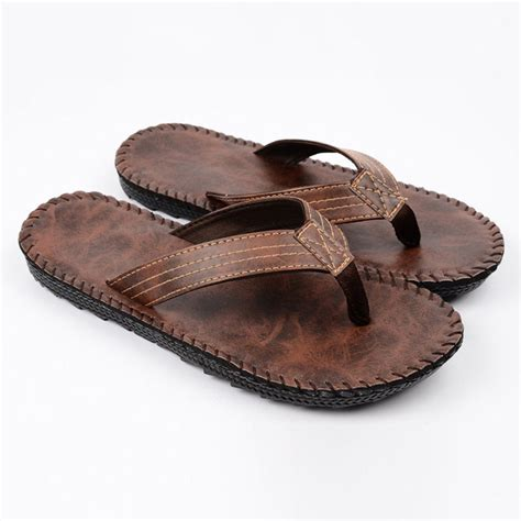 casual slippers mens casual leather flip flops slippers antiskid