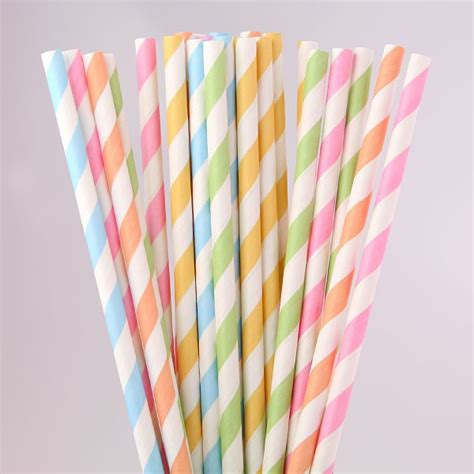 Striped Paper Straws mixed pastel coloured striped paper straws pipii