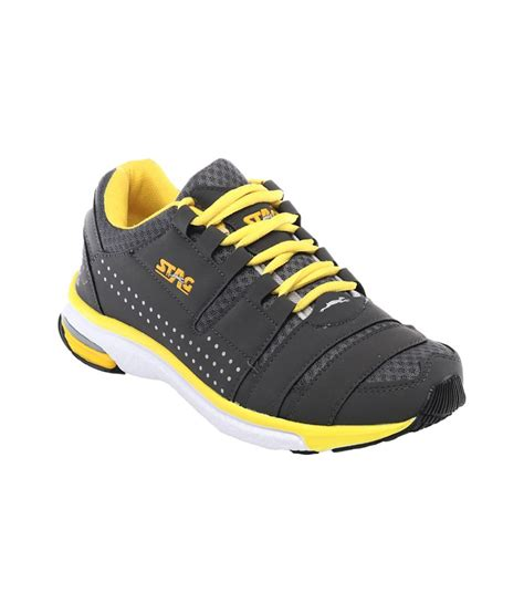 sport stags shoes stag black yellow running sports shoes price in india