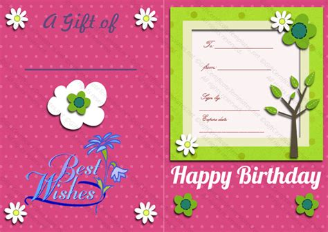 bi fold birthday gift certificate template gift certificates