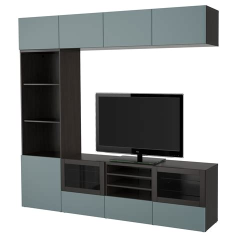 ikea besta grey best 197 tv storage combination glass doors black brown