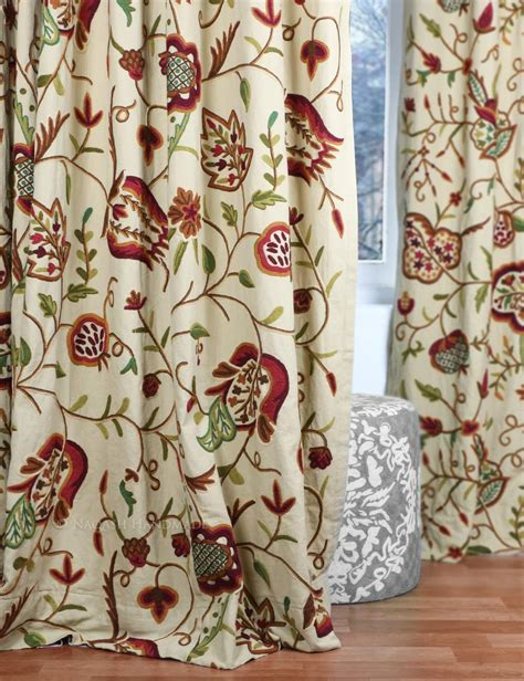 crewel curtain fabric watlab crewel curtain panels and drapes hand embroidered