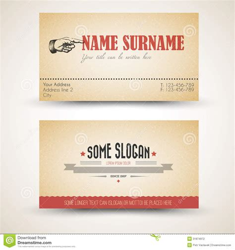 business card back template vector style retro vintage business card template