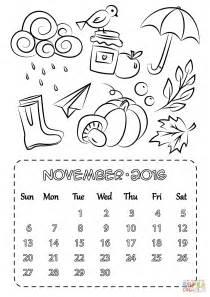 coloring page 2016 november calendar coloring page free