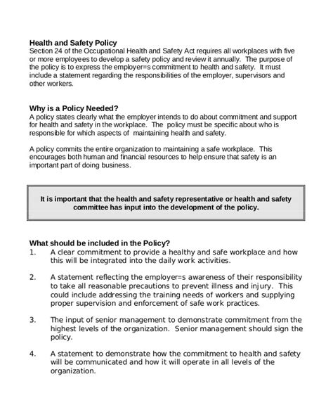 8 Free Workplace Safety Policy Templates Pdf Free Premium Templates Free Workplace Policy Template