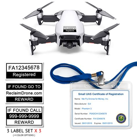 dji mavic pro faa registration card  labels  sets