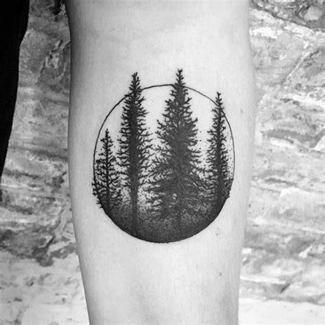 tattoo trends circle with tree forest mens simple inner