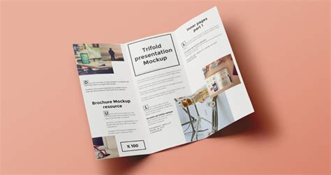 Psd Tri Fold Mockup Template Vol6 Brochure Mock Up Template