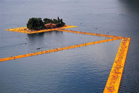 floating piers group challenges cost of christo s floating piers artnet news