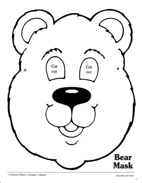 bear mask pattern printable arts  crafts