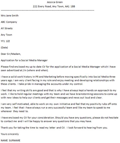Social Media Editor Cover Letter by Social Media Manager Cover Letter Exle Icover Org Uk