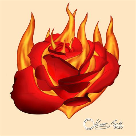 flaming rose tattoo burning design by kenny e beck on deviantart