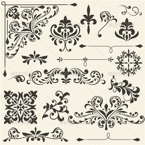 antique design elements 30 vector vector vintage floral design elements graphicriver
