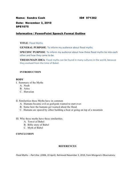 Formal Speech Presentation by Informative Speech Formal Outline 1