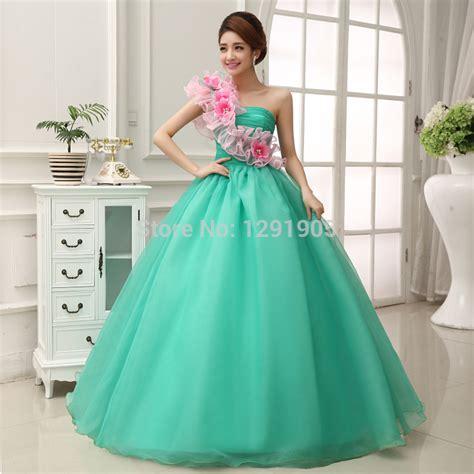 Gamis Fashion Aprodita Dress green beading pink flower one shoulder dress