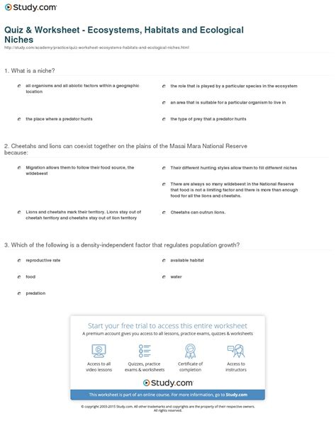 Ecosystem Worksheet Answers by Ecological Niche Worksheet