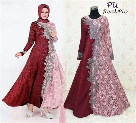 Tgh4b Dress Birudark Bluedress Pestasimple Dress baju gamis pesta priska brokat model busana muslim