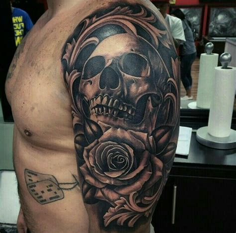 rose and skull sleeve tattoos skull and tattoos tatting and