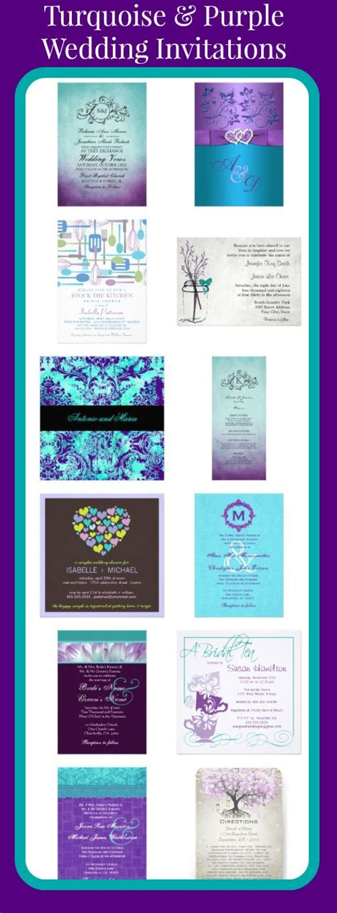turquoise and purple wedding invitations for brides using teal turquoise and purple as their