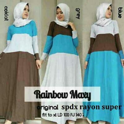 Gaun Diana Blue Maxi gamis remaja rainbow maxi a176 baju muslim modern
