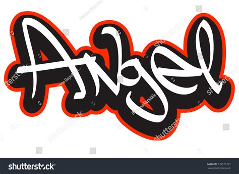 name style design angel graffiti font style name hiphop stock vector