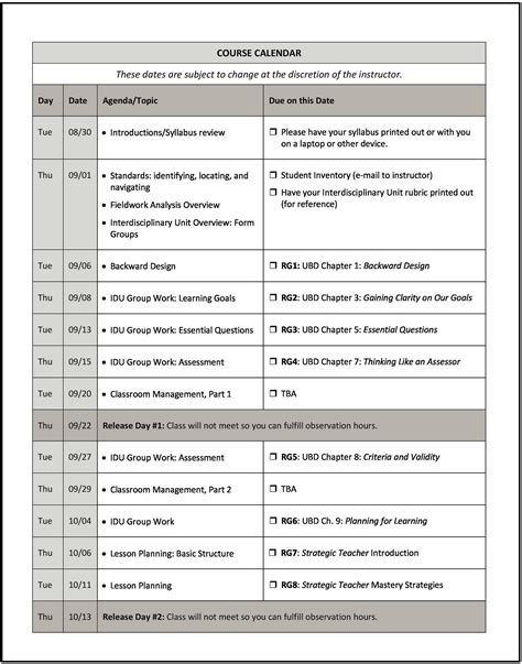 image gallery college syllabus