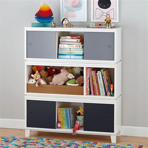 district modern storage bench bookcase with bin white
