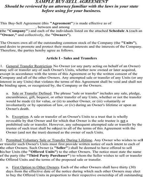 buy sell agreement template sle buy sell agreement for free page 5
