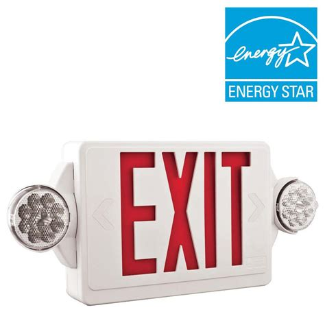 Lu Emergency Combo Bulb lithonia lighting 2 light plastic led white exit sign emergency combo with led heads and