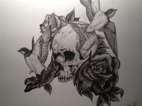 skull rose and bird tattoo skull roses and birds by pennybest deviantart on