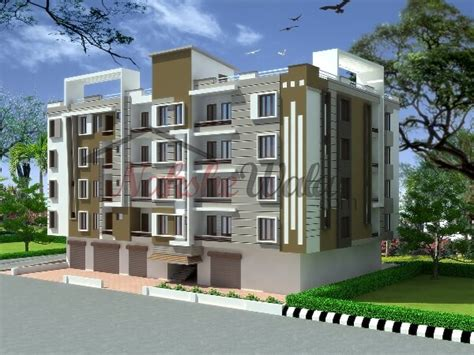 Multi Family Floor Plans residential cum commercial elevation 3d front view design
