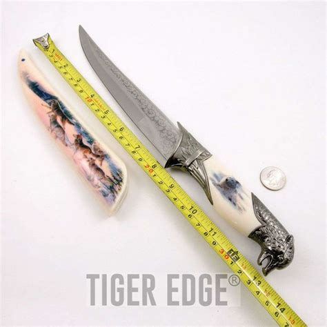 silver blade knife fixed blade decorative knife wolf pack 13 5 quot display