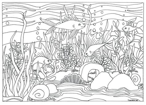 the aquarium colouring books 1910552321 fish aquarium scene coloring page coloring for adults by triciagriffitharts on etsy