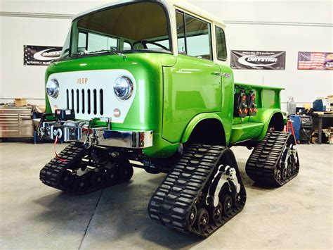 jeep car green jeep fc 170 pickup has tracks hemi v8 and acid green