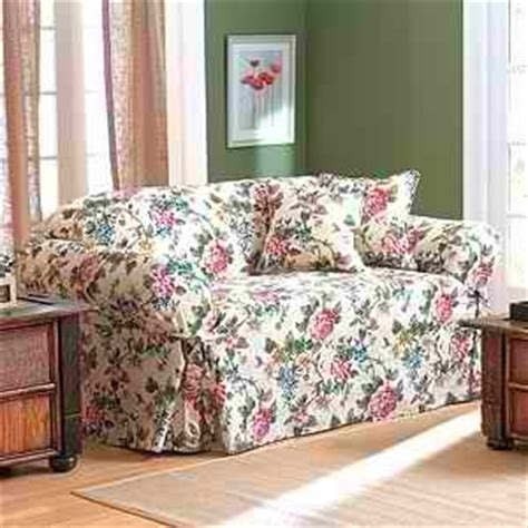 floral couch covers floral patterns like the one on this sofa slipcover are