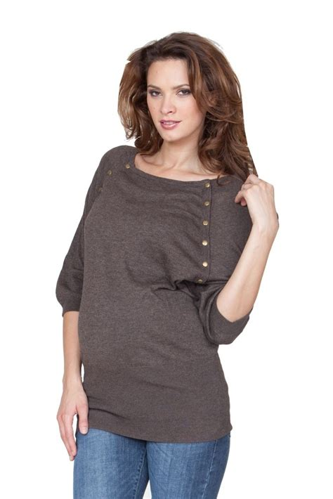 Rn Sweater Mismis Fit L seraphine alexia knitted maternity nursing sweater in brown