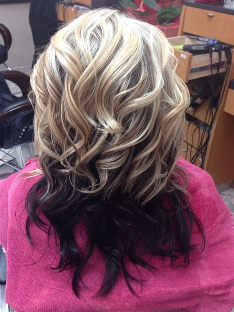 top half brown bottom half blonde hair client request bottom half dark chesnut brown top half