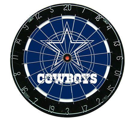 dallas cowboys dart board cabinet nfl dallas cowboys bristle dartboard set qvc com