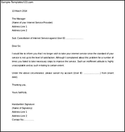 cancellation letter for broadband free service termination letter template