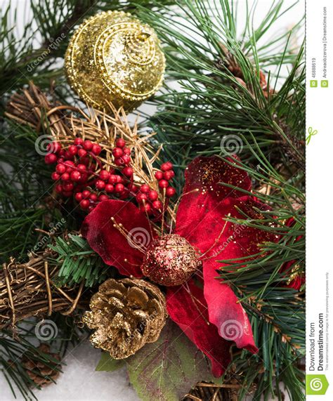 christmas background with pine tree branch pine cones